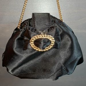 Betsy Johnson Black Satin Evening Bag